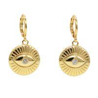 2019 delikatna biżuteria złota wypełniona geometryczna okrągła moneta grawerowane złe oko proste mody kobiety dziewczyna szczęście Dangle Charm kolczyki