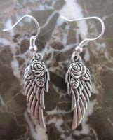 Monili all'ingrosso d'argento Roses Wings Angelo pendenti di fascini ciondola gli orecchini per le donne Gifts 656