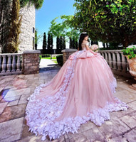 Lindo Blush Rosa Quinceanera Vestidos Masquerade fora do ombro inchado vestido de baile vestidos de baile com apliques doces 16 vestidos de 15 anos