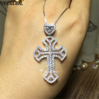 Vecalon Heart Lover Big Cross pendant 925 Sterling silver 5A...