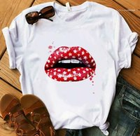 Womens Tops Summer Street Style Female Clothing Lips Printed Womens Designer Tshirts Fashion Breathable Plus Size