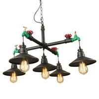 주방 식당 침실 호텔 홀 빈티지 철 검은 산업 바람 매달려 램프 LED E27 220V 정지 펜던트 조명