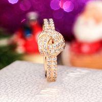 Pandora 925에 대한 도매 동심 매듭 반지 925 스털링 실버 도금 로즈 골드 CZ 다이아몬드 쥬얼리 원래 상자 반짝 이는 숙녀 반지