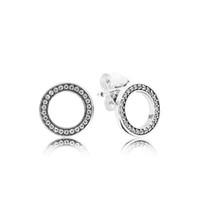Authentique boucle d'oreille de cercle en argent sterling 925 avec boîte d'origine pour Pandora CZ diamant femmes boucles d'oreilles à la mode