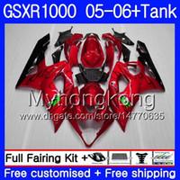 + Réservoir Pour SUZUKI GSXR 1000 1000CC GSX R1000 2005 2006 Carrosserie nacré rouge chaud 300HM.54 GSX-R1000 GSXR-1000 1000 CC K5 GSXR1000 05 06 Carénage
