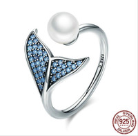 Solid 925 Sterling Silver Sereia Anéis para Meninas Adolescentes Europa Americano Shell Pérola Zirconia Aberto Ajustável Senhoras Anel de Dedo