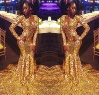 Amazing African Gold Sequined Prom Evening Dresses For Black...