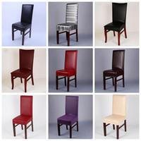 PU Salle en cuir Chaise Housse étanche Chaise en cuir Couverture Spandex élastique extensible décoration de mariage LXL984Q Housse