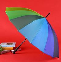 Gökkuşağı Şemsiye Yağmur Kadınlar Renkli Uzun Kol Şemsiye Erkekler Windproof Renkli Anti-UV Şemsiye Moda 16 Kemik CYL-YW1274