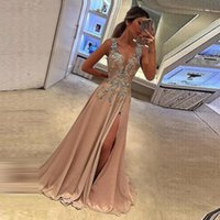 2019 Prom Dresses Sexy Deep V- neck applique vestido lace for...