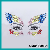 Tattoo Face Jewels Donna Sexy Occhi di cristallo Gemme Sticker Musica Giorno Festa Trucco Body Art Flash Glitter Sticker 4 pezzi / lotto