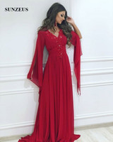 Arabic Women Evening Dresses Long Sleeves Appliques V- neck F...