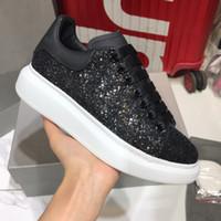 Top Quality Men mulheres calçados casuais plataforma do partido de couro de veludo calça as sapatilhas de glitter preto instrutor Sneakers Chaussures