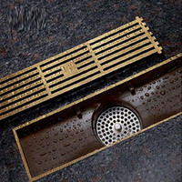 Antique Brass Square Floor Drain Bathroom Linear Shower Floo...
