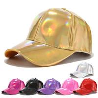 PU Lazer Beyzbol Şapkası Rahat Ayarlanabilir Parlayan güneş kremi evrensel hip hop beyzbol Snapback kap Moda kadın hafif sürüm LJJJ116