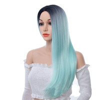 Fashion Women Blue Pink Gradient Long Straight Wig Daily Cos...