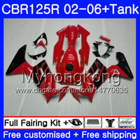 HONDA CBR-125R 125CC CBR125RR CBR125R için ışık kırmızı siyah gövde + Tank 02 03 04 05 06 272HM.16 CBR 125 R 125R 2002 2003 2004 2005 2006 Fairing