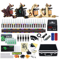 Kit de tatuagem completo 4 máquinas 40 tintas de cor de alimentação de alimentação agulha de agulha Grip conjunto D139GD-16