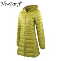 NewBang 7XL 8XL Plus Длинные вниз куртка женщины зимнего Ultra Light вниз куртка женщин с капюшоном пальто женщина большого размером пальто