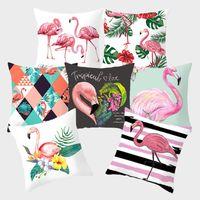Flamingo Pink Dekoratif Yastıklar Tropikal Bitki Yeşil Yastık Yastık Koltuk Ev Dekorasyon yastık kılıfı için Polyester Kapaklar