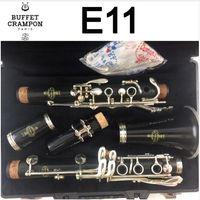 Buffé E11 BB klarinett 17 Key Högkvalitativ Sandalwood Ebony Musical Instrument Clarinet med fallmunstycke Tillbehör till student