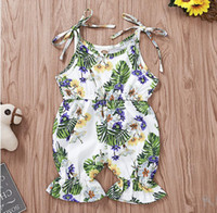 Girl Sleeveless Floral Print Romper Baby Summer Lotus Edge J...