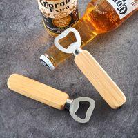 Abridor de botellas de vino tapa de cerveza removedor de mango de madera de acero inoxidable herramienta de cocina de artículos para fiestas madera para el hombre