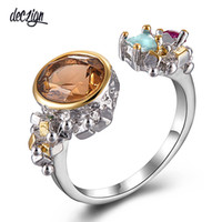 Deczign Women Vintage Engagement Wedding Ring Light Brown Zi...