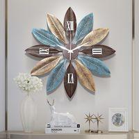 Americana Hierro forjado decorativo Reloj arte del tapiz Crafts hoja de decoración de la pared colgante Inicio El salón Mural Adornos