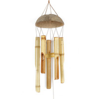 Wind chimes Natural Bamboo Wind Chimes Coconut Wood Handmade...