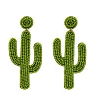 Gioielli Dichiarazione seme acrilico Bead Cactus orecchini di goccia per le donne in rilievo Handmade di frutta tropicale ORECCHINI Carino Beach