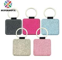 20PCS حقيبة جزء التسامي فارغة الملونة بو سلسلة المفاتيح الملحقات