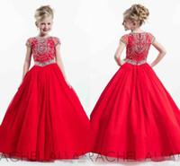 Glitz 2019 new rachell allan vermelho little kids girl pageant vestidos mangas curtas vestidos de baile criança pequena cristais flor meninas vestido