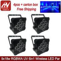 4pcs Par50 Lights 9*18W RGBWA+UV 6in1 Wireless DMX Battery Powered Led Flat Par64 Uplights DJ Stage Lighting Wedding DJs Uplighting