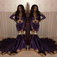 Sexy Purple Mermaid Long 2019 Prom Evening Dresses V neck Go...