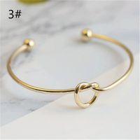 Bracelets de fil ouvert extensible en cuivre de ton or argent pour le noeud d'amour Bracelets de manchette Bracelet pour les enfants et les adultes