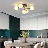 현대 조명 럭셔리 천장 램프 거실 디자이너 미니멀 산업 바람 매직 콩 연기 회색 유리 공 천장 조명