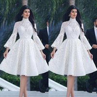 Arabic White 2019 Cocktail Dresses A-line 3 4 Sleeves Appliques Lace Knee Length Elegant Party High Neck Homecoming Dresses