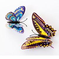 12 Adet Aydınlık Çift katmanlı Kelebek 3D Duvar Sticker düğün süslemeleri karanlıkta Mıknatıs Kelebekler Buzdolabı çıkartmalar
