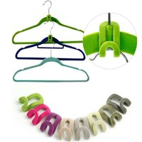 Mini Flocking Clothes Hanger space saver Clothing flocking h...