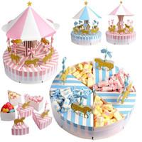 유니콘 파티 선물 생일 장식 파티 장식 결혼식 호의 및 선물 2PCS의 고유 로맨틱 회전 목마 사탕 상자
