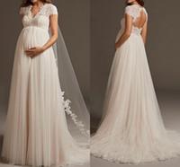 اللباس فستان دي Noiva البوهيمي تول الرباط الحوامل الزفاف كم كاب عودة فتح الأمومة أثواب الزفاف للرداء دي Mariee