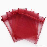 100 adet KOYU KıRMıZı İpli Organze TAKı Hediye paketleme Çanta 7x9 cm 9x12 cm 10x15 cm Düğün Noel Favor Hediye Çanta