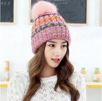 Корейская версия большого шерстяного шара смешанного цвета вязание на открытом воздухе толстая шерстяная шапка теплая осень зима леди шляпа фабрика прямая