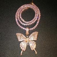Fine Jewelry or rose Micro Pave rose cz Zircon diamant cubain lien chaîne Tennis papillon Collier Hip Hop Bijoux