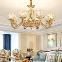 lampadario di lusso high-end di illuminazione lampadario di rame fantasia vetro europeo accende Lampade a sospensione con lampade a led per il soggiorno camera da letto