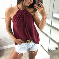 Women Summer Top Fashion Solid Color Sexy Camisole Hanging N...