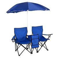 Waco 2 pessoa Dobrável Cadeira de relva dobrável, bancos ao ar livre Camping móveis praia pátio esportes, com guarda-chuva removível saco refrigerador e transportar case azul