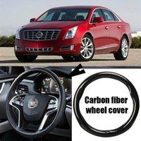 Автомобиль-стилизация 38cm черных карбоновой кожи ПВХ покрытия автомобиль руль для Cadillac XTS