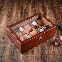 خمر الشمع الخشب الصلب ووتش صندوق العرض المنظم ووتش حالة خشبية مع ويندوز مجوهرات التخزين التعبئة والتغليف هدية مربع